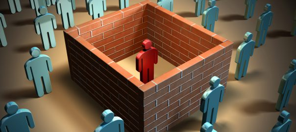 Cartoon representation of a person isolated inside 4 walls with others outside